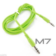 GREEN AUXILIARY CABLE CORD for IPHONES ITOUCH IPOD JACK 3.5mm CAR AUDIO AUX WIRE