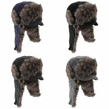 Mens Quilted Thermal Trapper Ski Hat w/ Peak