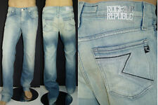 $210 NWT ROCK & REPUBLIC JEANS NEIL MANIPULATED BLUE RELAXED