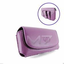 PURPLE PREMIUM LEATHER POUCH CASE FOR MOST LG PHONES COVER WITH BELT CLIP LOOP
