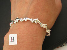 Various 925 Sterling Silver Dolphin Bracelets. Made in Taxco, Mexico & Italy.