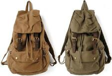 Canvas Women Outdoor Travel Bag Backpack School Bag Rucksack Leather 1005