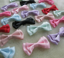 E129 U pick 40 pcs satin ribbon bows flowers for Appliques Crafts more colors