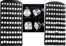 WHOLESALE 36 PAIRS Pierced ROUND/SQUARE Clear CZ STUD EARRINGS Men Women
