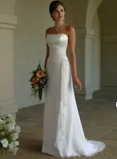 New Stock White/Ivor​y Chiffon Wedding Dress Bridal Gown Size:6/8/1​0/12/14/16