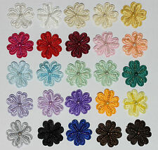 5 pieces Satin Beaded Flowers Sew on Embellishments