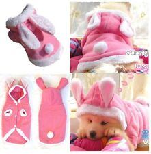 Pink Rabbit Dog/Puppy Hoodie Coat Clothes - Plush and Warm for Winter
