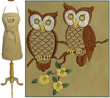 "Detailed Owls on Flower Tree Branch Custom Monogram 24"" & 30"" Kitchen Chef Apron"