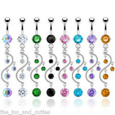 Vine Dangle Gem Belly Ring Navel Naval 14g Body Jewelry