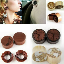Pick Size/ Style Sono Wood Bone Inlay Gauge Plug Hand Made Organic Floral Carved