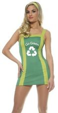 New Green Eco Recycle Cheerleader Outfit Adult Costume