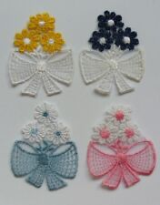 "6 Pcs  Flowers / Bows Embroidered Lace -1-""(W)-E012"