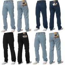 NEW MENS BASIC WORK JEANS IN 3 COLOURS - BLACK,STONEWASH,LIGHTWASH. SIZES 28-60