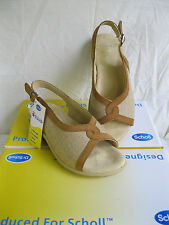LADIES DR. SCHOLL BEIGE/TAN LEATHER SLING BACK PEEP TOE SANDAL-MARGOT