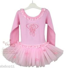 NWT Girls/Toddler/Kids Tutu Dance Ballet Dresses Leotards Long Sleeves Pink 1-5T