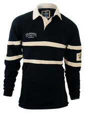 Guinness Rugby Shirt - Black & Tan, Embroidered, Official Merchandise (G2002)