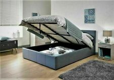 """4'6"""" Double Low Frame Faux Leather Bed Black Brown White + Mattress Options"""