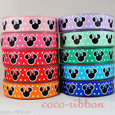 10 Y 7/8 Minnie Mouse With Polka Dot Bow Grosgrain Ribbon U-Pick Color