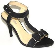 NEW $99 I LOVE BILLY Womens Medina Black Peep Toe High Heels Silver or Gold Trim