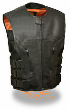 Mens Leather SWAT Team Style Motorcycle Biker Vest - Perfect for Club Patches