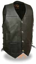 Mens Side Lace Leather Biker Vest Buffalo Nickel Snaps Perfect for Club Patches
