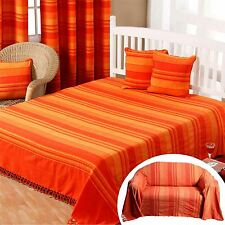 Homescapes Orange Large Cotton Stripe Sofa Bed Throw Blanket Cushion Curtains