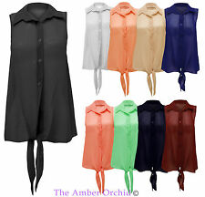 New Ladies Sheer Sleeveless Chiffon Front Tie Blouse Shirt Womens Top UK 8-14