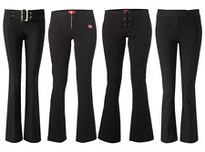 BNWT GIRLS BLACK  SCHOOL TROUSERS SIZES 6-16 STRETCH HIPSTER BOOTCUT