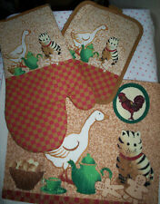 CAT DUCK TEAPOT CUP * CHOOSE KITCHEN DISH TOWEL, QUILTED POTHOLDERS OR OVEN MITT