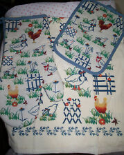 FARM ANIMALS CHICKENS * CHOOSE Kitchen Towel, Quilted Potholder or Oven Mitt *