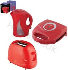 RED SANDWICH TOASTIE MAKER 2 SLICE TOAST TOASTER & CORDLESS JUG KETTLE ELECTRIC