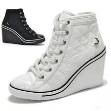 Womens Black White Sporty Zip Wedge Heel Sneakers / Fashion Ankle Trainers