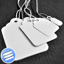 WHITE STRUNG PRICE TAG/ TAGS/ SWING TICKETS TIE ON LABELS (Available in 8 Sizes)