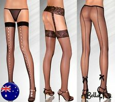 Quality STOCKINGS PANTYHOSE Stay Ups Black Fishnet Sexy Retro Lingerie Hot Black
