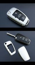 Audi Remote Flip Key Cover Case Skin Shell Cap Fob Protection Bag Hull Silver