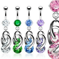 CZ Prong Set Navel belly ring 2 CZ Cosmo Dangle