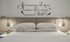 """Vinyl Wall LARGE """" IF I LAY HERE SNOW PATROL""""Art Quote Wall Sticker Decal bird"""