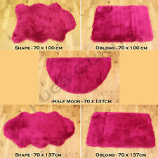 QUALITY SOFT FLUFFY PLAIN WASHABLE FUSCHIA PINK COLOUR FAUX FUR SHEEPSKIN RUGS