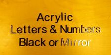 ACRYLIC LETTERS & NUMBERS BLACK OR MIRROR 5CM CHOICE OF 10 FONTS SHATTERPROOF