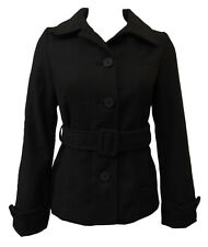 BLACK LINED SINGLE BREASTED LADIES JACKET WITH POCKETS & BELT.