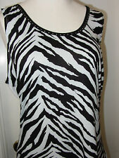Usindo Black & White Zebra Striped Sleeveless Tank Top Beaded Sz M,L Reverse-NWT