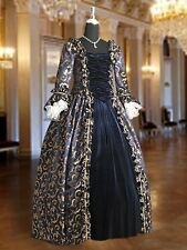 Medieval Renaissance Dress Bodice and Skirt Handmade from Baroque Damask