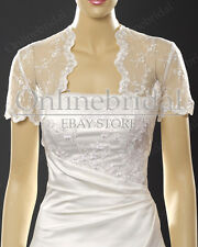 Bridal wedding short sleeve lace bolero jacket shrug -PICK SIZE S-4X