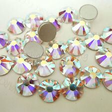 SWAROVSKI Flat Back 2028 2058 Crystal AB Foiled Glue Fix *All Size* Rhinestones
