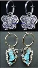 1 PAIR Spring Clip-On Butterfly Dangle Earrings:Blue or Clear Rhinestone/Black