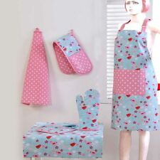 Cotton Pink Blue Birds Flowers Kitchen Double Oven Gloves Apron Towel Pot Holder