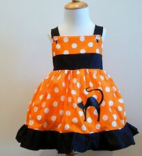 ORANGE AND WHITE POLKA DOTS AND BLACK TRIM SCARIE CAT HALLOWEEN FROM 12M TO 6Y