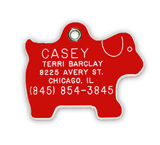 Medium Dog Shaped Pet Tag  Durable Acrylic Plastic Personalised Reflective