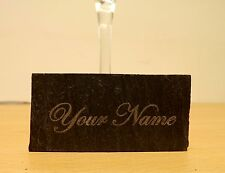 SET OF 4 SLATE NAME PLACE SETTINGS 4 x 8cm PERSONALLY ENGRAVED WEDDING XMAS