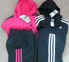 adidas 3 Stripe Girls Full Tracksuit Bottoms & Top Jacket Aged 7-13 Years